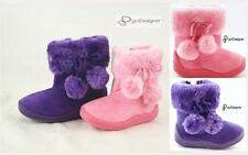 NEW BABY Girls Kids Shoes Boots Pink Purple Cute Comfort Suede Faux Fur Warm