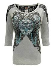 Harley-Davidson Women's Shirt, Rhinestone Willie G Skull Laced Tee HD315-020HGY