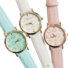 Women's Geneva Faux Leather Band Catchy Flower Casual Analog Quartz Wrist Watch