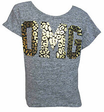 Girls New Grey OMG Short Sleeved Top With Gold Foil Leopard OMG Ages 2Y-13Years