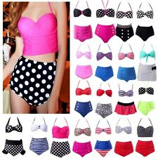 Sexy Retro Vintage High Waisted Waist Bikini Polka Dot Stripes Swimsuit Swimwear
