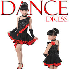 Childrens Latin Salsa Ballroom Dance Dress Girls Dancewear Costumes Dress