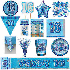 16th Blue Glitz Birthday Party Supplies Decorations Tableware Banners Balloons