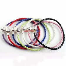 European Style LOVE Clasp Braided Leather Charm Bracelet Fit Beads Colors Pick