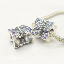 Authentic S925  Sterling Silver Butterfly Charm Purple Lavender
