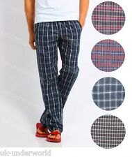 MENS CHECK LOUNGE PANTS PYJAMA BOTTOMS COTTON BLEND WOVEN PJ'S PYJAMAS NIGHTWEAR