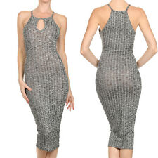 Sexy Ribbed Knit Sheer Stretch Bodycon Diamante Racerback Midi Cocktail Dress