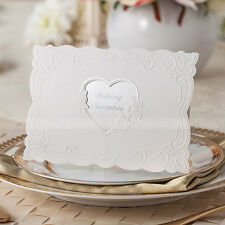 White Floral Wedding Invitations Cards With Heart Cutout and Envelopes, Seals