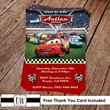 Cars Disney Birthday Invitation Personalized Party Printable Lightning Mcqueen