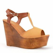 Womens Natural Tan/Brown Two-Tone Peep-toe T-Strap Sandal Wedge Bamboo Woobery01