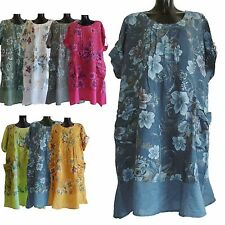 PLUS SIZE ONE SIZE LAGENLOOK ITALIAN 100% LINEN SUMMER PARACHUTE BOHO DRESS