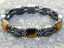 Men's Women's Magnetic Bracelet Anklet  TIGER EYE SUPER STRONG Clasp 2 row SPORT