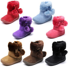 Kids Girls Toddler Pom Pom Ribbon Bow Faux Suede Fur Flat Boots Winter Shoes