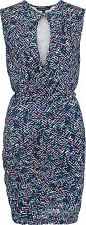French Connection Confetti Grid Wrap Detail Jersey Dress Blue - 8, 10, 12, 14