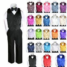 23 Color Satin 4 Piece Set Vest Bow Tie Boy Baby Toddler Formal Tuxedo Suit 8-20