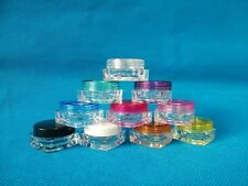 3g 3ml 0.1oz Empty Small Plastic Cosmetic Jar Sample Container 10Colors Square