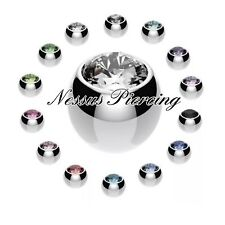 Spare balls with gems belly/nipple/tragus/labret/tongue/ear piercing