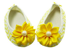 Yellow Chevron Baby Crib Shoes with Flowers - Newborn, 3-6 Months, 6-12 Months
