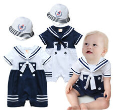 Baby Boy Sailor Outfit, New Baby Clothes & Hat Party Wear Outfit AU 000 00 1 2