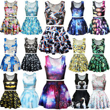 Women's Girls Crop Top & Skirt Vest High Waist Mini Dress Cartoon Print Costume