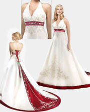 New White/Red Satin Wedding Dress Bridal Gown Custom Size 6-8-10-12-14-16