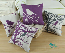 Purple Color Shadow Bird in Tree Cushion Covers Pillows Shell Home Decor 45X45cm