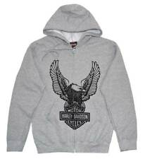 Harley-Davidson Men's Hooded Sweatshirt, H-D Eagle Zippered Hoodie Gray 30296664