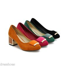 Womens Suede Fabric Round Toe Metal Mid Heel Shoes Party Pumps AU Sz 2~13.5 D080