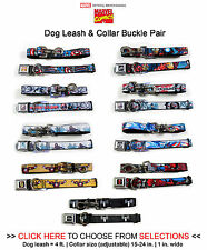 Marvel Super Heroes - 4 ft Dog Leash Lanyard & Seatbelt Buckle Collar Combo Pair