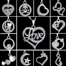 New Women Girls Special Love Gift Crystal Heart Pendant Necklace Silver Jewelry