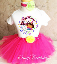 Dora The Explorer Party Pink 2nd Second Birthday Shirt Tutu Outfit Set Party