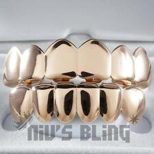 18K Rose Gold IP Plated STAINLESS STEEL GRILLZ Top & Bottom Tooth Hip Hop Grill