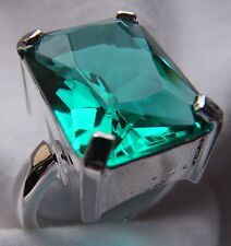 New Calypso Green Amethyst Rectangle Cut Sterling Silver Ring - Size 7, 8 & 9