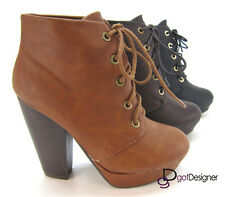 Womens Almond Toe Fashion Ankle Bootie Boot Shoes Lace-up Platform Pumps Trendy