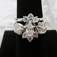 Sparkling Marquise 27 Count AAA Cubic Zirconia 2 Set Wedding Band Sz 5-10