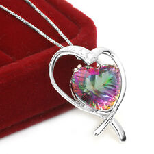 JewelryPalace 925 Sterling Silver 7.2ct Fire Rainbow Topaz Pendent Necklace