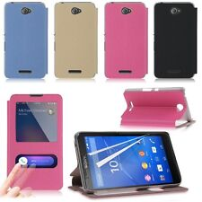 Flip Leather View Window Case Cover Stand for Sony Xperia E4 / E4 Dual + Film