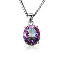 JewelryPalaceGenuine Fire Rainbow Topaz Pendant NecklaceSolid 925 SterlingSilver