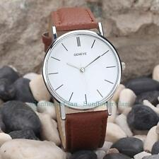 Silver  Dial Watches Casual Women Men Leather Strap Quartz Wristwatch Unisex
