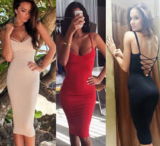 Women Sexy Evening Party Backless Bodycon Bandage midi spaghetti Pencil Dress