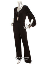 N/W-Defect CALVIN KLEIN Women Slit Sleeve Pocket Jump Suit Black  8  12 14 16