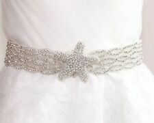 Bridal Wedding Starfish Star Rhinestone Crystal Ribbon Satin Sash Dress Belt