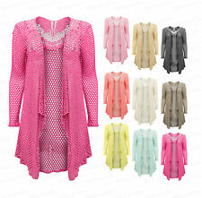 Ladies Womens Crochet Butterfly Waterfall Mesh Lace Drape Cardigan Plus Size Top