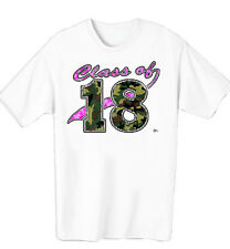 GIRLS CLASS OF 2018 PINK AND GREEN CAMOUFLAGE WOMENS T-SHIRT IN SIZE SMALL-4XL