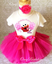 Elmo Hot pink Balloons 2nd Second Birthday Shirt Tutu Outfit Set Party girl