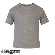 New T-Shirt Age Size Top Kids Baby and Toddler Plain in Grey Marl Boys Girls