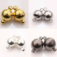 5/10 Sets Crafts White K/Gun Black/Silver/Gold Plated Round Magnetic Clasps DIY