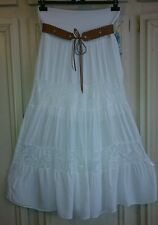 Women stretch jersey belted waist hitched up gypsy hippie boho long maxi skirt