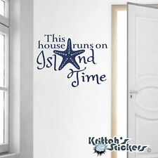 This House Runs On Island Time Vinyl Wall Decal Quote starfish beach ocean L131