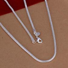 Hot 925 Sterling Silver Snake Chain 3mm/4mm Link Necklace 16-24 inch